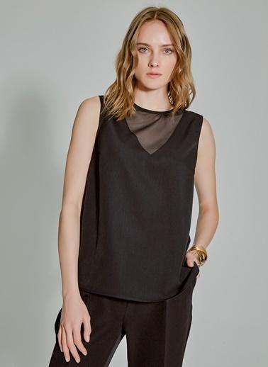 People By Fabrika Tül Detaylı Bluz Siyah